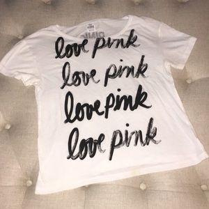 PINK oversized semi sheer t-shirt